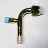 Фитинг соединительный, под обжимку, сталь, гайка — сталь, 5/8, G10, №10, #10 (13мм), 90° , без стакана, O-Ring, с портом R134a.